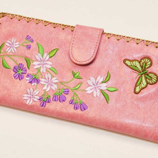 $27.90 - Embroidered Long Wallet Flower And Butterfly Design - PinkColor - SGD $27.90