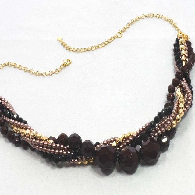 $23.90 - Necklace Beaded And Crystal Chocker Design - SGD $23.90